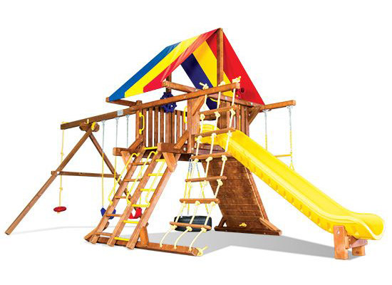 Rainbow Swingsets Castle Backyard Playworld Omaha