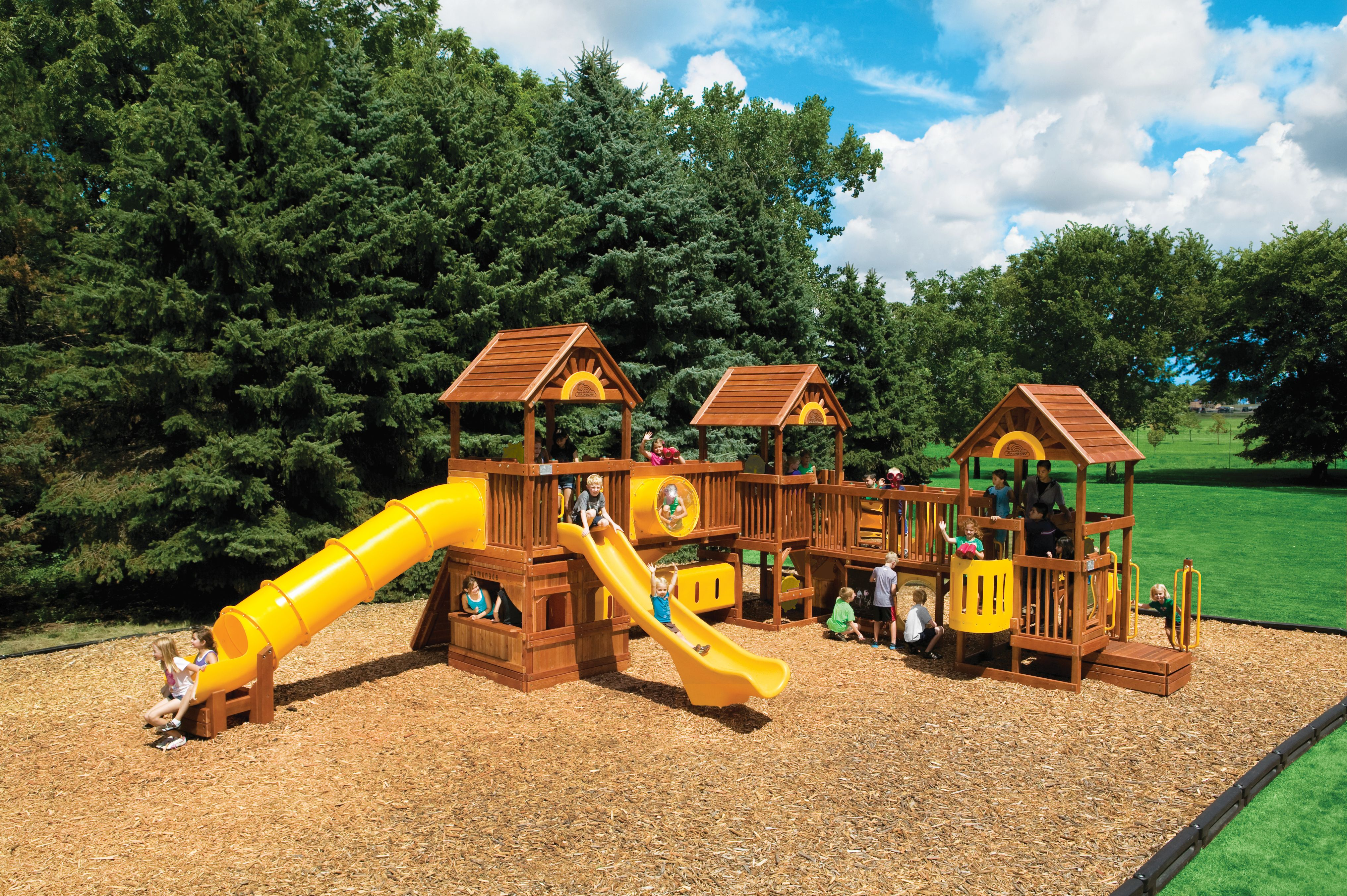 Commercial Rainbow Play Sets Backyard Playworld Omaha